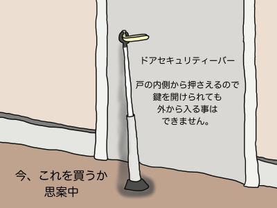 ドアセキュリティーバー との内側から押さえるので鍵を開けられても外から入ることはできません。今、これを買うか思案中
