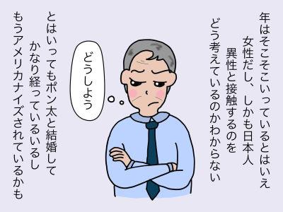 年はそこそこいっているとはいえ女性だししかも日本人 異性と接触するのをどう考えているのかわからない とはいってもポン太と結婚してかなり経っているいるしもうアメリカナイズされているかも「どうしよう、、、」