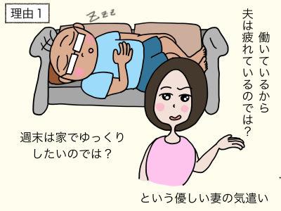 理由1 働いているから疲れている夫は、週末は家でゆっくりしたいのではという優しい妻の気遣い
