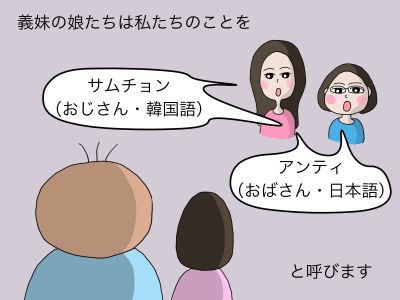義妹の娘たちは私たちのことを「サムチョン(おじさん・韓国語)」「アンティ(おばさん・日本語)」 と呼びます。