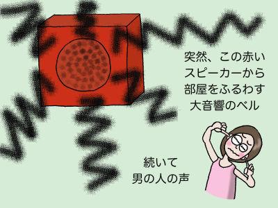 突然、この赤いスピーカーから部屋をふるわす大音響のベル 続いて男の人の声