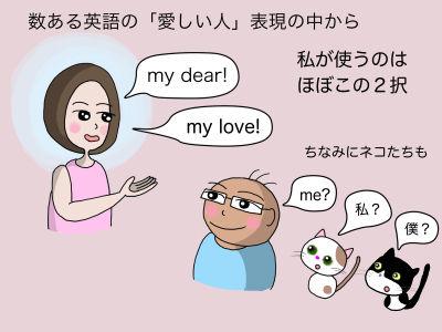 数ある英語の「愛しい人」表現の中から私が使うのはほぼこの2択 my dear!  my love! ちなみにネコたちにも me? 私? 僕?