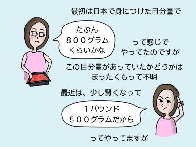 最初は日本で身につけた目分量で「たぶん800グラムくらいかな」って感じでやっていたのですが、この目分量があっていたかどうかはまったくもって不明 最近は少し賢くなって「1パウンド500グラムだから」ってやってますが