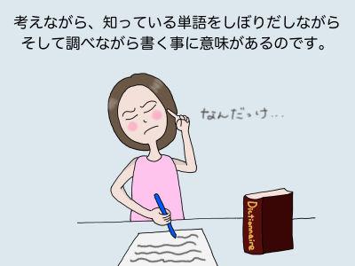 考えながら、知っている単語をしぼりだしながらそして調べながら書く事に意味があるのです。