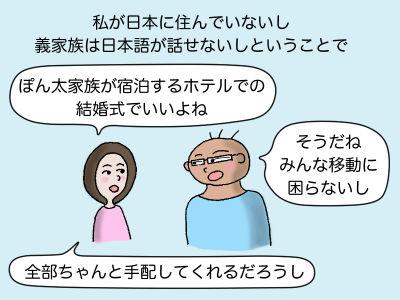 私が日本に住んでいないし義家族は日本語が話せないしという事で「ぽん太家族が宿泊するホテルでの結婚式でいいよね」「そうだね、みんな移動に困らないし」「全部ちゃんと手配してくれるだろうし」