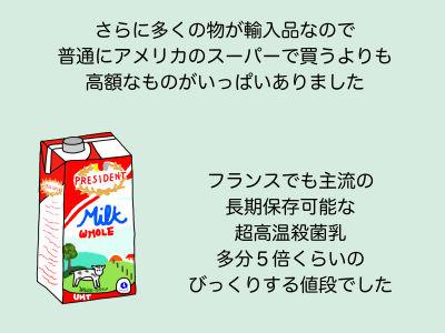 さらに多くのものが輸入品なので普通にアメリカのスーパーで買うよりも高額なものがいっぱいありました フランスでも主流の長期保存可能な超高音殺菌乳 多分5倍くらいのびっくりする値段でした