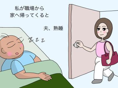 私が職場から家へ帰ってくると 夫、熟睡