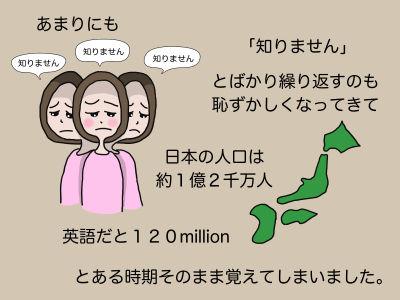 あまりにも「知りません」「知りません」「知りません」とばかり繰り返すのも恥ずかしくなってきて 日本の人口は約1億2千万人 英語だと120 million とある時期そのまま覚えてしまいました。