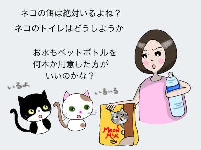 ネコの餌は絶対いるよね ネコのトイレはどうしようか お水もペットボトル、何本か用意した方がいいのかな?