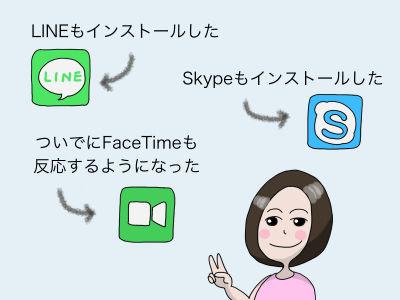 LINEもインストールした Skypeもインストールした ついでにFaceTimeも反応するようになった