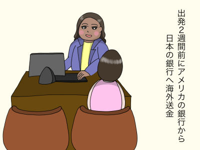 出発2週間前にアメリカの銀行から日本の銀行へ海外送金