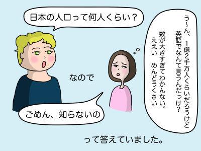 「日本の人口って何人くらい?」(う〜ん、1億2千万人くらいだろうけど英語でなんて言うんだっけ? 数が大きすぎてわかんない。ええい、めんどうくさい)なので「ごめん、知らないの」って答えていました。