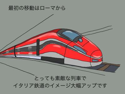 最初の移動はローマから とっても素敵な列車でイタリア鉄道のイメージ大幅アップです