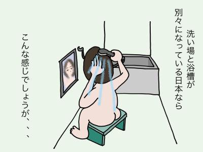 洗い場と浴槽が別々になっている日本ならこんな感じでしょうが、、、