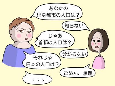 「あなたの出身都市の人口は?」「知らない」「じゃあ首都の人口は?」「分からない」「それじゃ日本の人口は?」「ごめん、無理」「、、、」