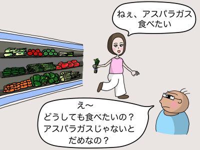「ねぇ、アスパラガス食べたい」「え〜 どうしても食べたいの? アスパラガスじゃないとダメなの?」