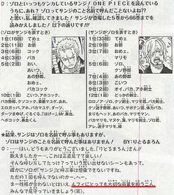 尾田栄一郎「ゾロとサンジの戦闘力は同等です」