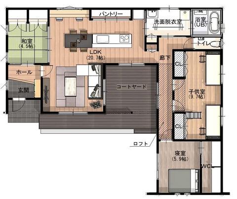 モデルハウス 平面図パース