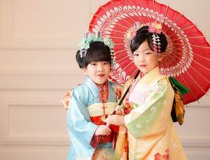 鎌倉七五三7歳写真 前撮り  双子でお祝い 6