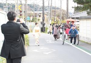鎌倉成人式屋外ロケーション撮影 人力車