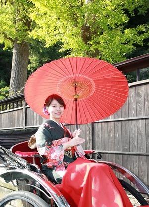 成人式前撮り屋外ロケーション撮影 秋 人力車 鎌倉