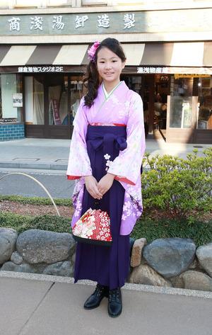 鎌倉小学生卒業袴 紫紺小花袴