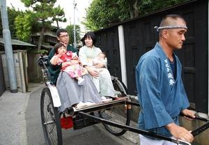 鎌倉七五三人力車屋外撮影家族写真