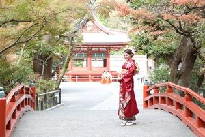成人前撮り屋外ロケーション撮影 鎌倉 紅葉 鶴岡八幡宮