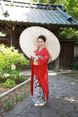 鎌倉振袖屋外ロケーション和傘