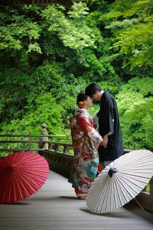 鎌倉結婚式前撮り 庭園 新緑 色打掛