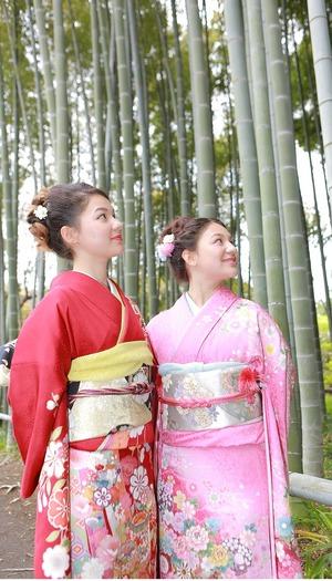 ロケーション撮影 鎌倉 竹林 英勝寺 振袖写真 成人式 姉妹