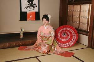 鎌倉成人式振袖和室写真