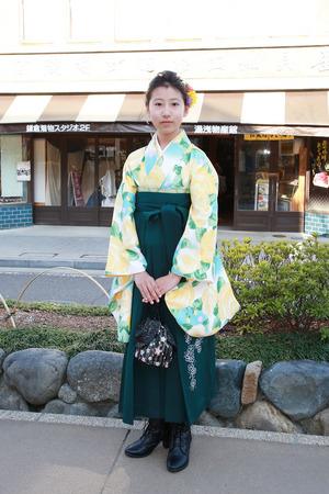 鎌倉小学生卒業袴 グリーンイエロー緑袴