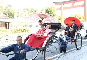 鎌倉七五三前撮り屋外写真 人力車