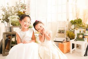 鎌倉七五三7歳3歳姉妹ドレス
