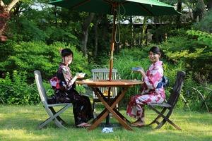 鎌倉浴衣女子古民家カフェ抹茶
