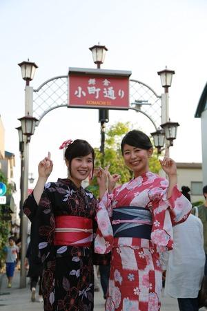 鎌倉浴衣女子小町通散策