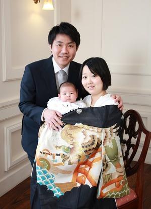 鎌倉お宮参り スタジオ写真 家族写真 産着レンタル