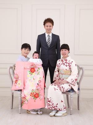 鎌倉 お宮参り家族写真 産着レンタル