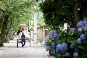 鎌倉宮結婚式 アジサイロケーションフォト 人力車
