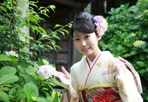 鎌倉成人振袖前撮り紫陽花ロケーション写真