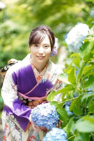 成人式 ママ振袖 前撮り ロケーションフォト 鎌倉 紫陽花2