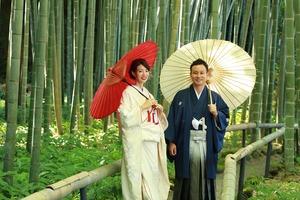 鎌倉屋外撮影 白無垢&紋服 和傘