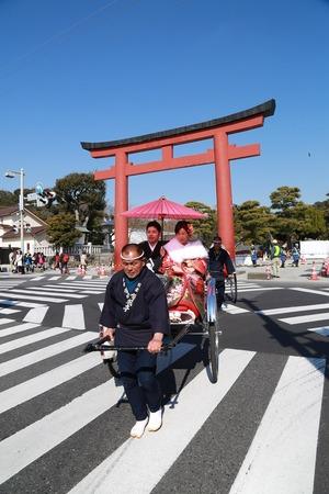 鎌倉結婚式人力車ロケーション写真