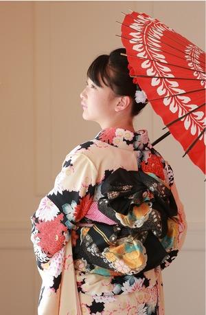 十三参り、和傘、スタジオ写真、鎌倉記念写真、鎌倉振袖、帯