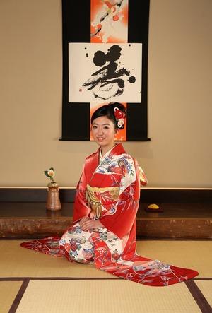 鎌倉成人振袖前撮り写真和室