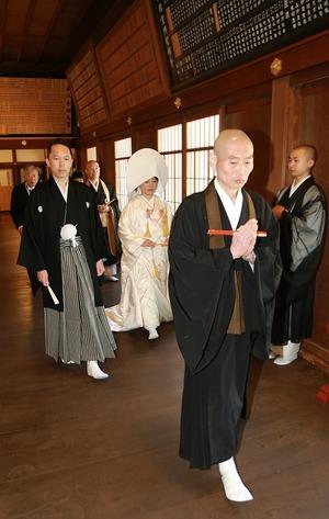 円覚寺結婚式写真方丈入堂