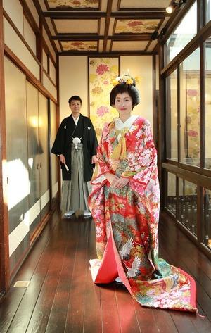 婚礼前撮り 色打掛 鬘 鎌倉屋内写真