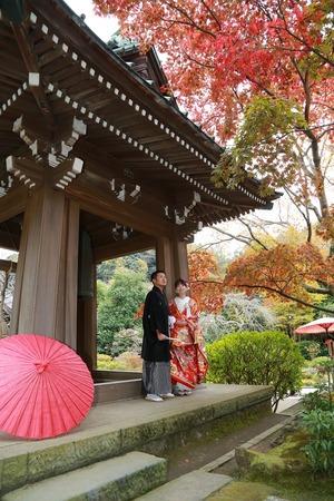 鎌倉紅葉フォトウエディング海蔵寺