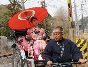 鎌倉振袖人力車ロケーション撮影
